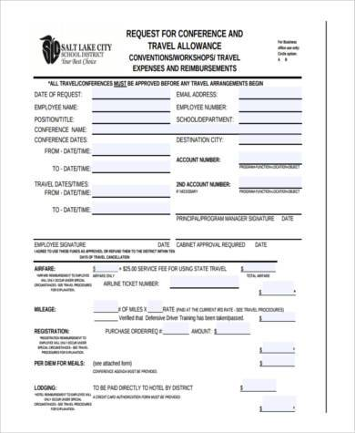 travel allowance request form