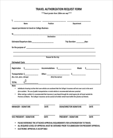 Travel Authorization Form Samples   Free Documents In Word Pdf