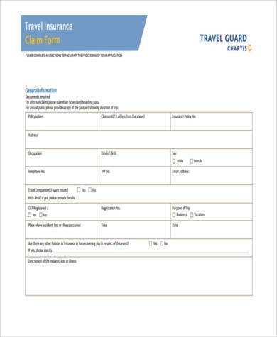 Sample Travel Insurance Claim Forms   Free Documents In Word Pdf