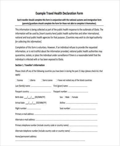 travel health declaration form