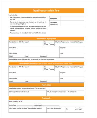 travel insurance claim form example