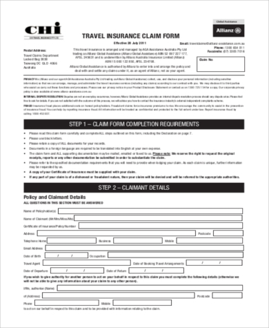 FREE 10+ Sample Insurance Claim Forms in PDF   MS Word