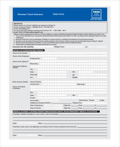 travel medical claim form
