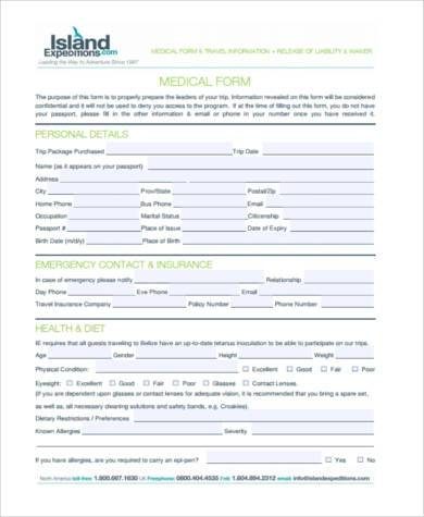 travel medical form example