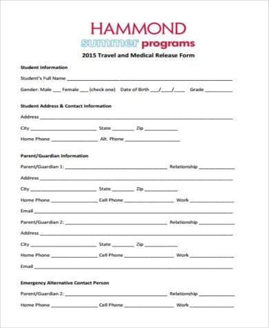 Sample Travel Medical Forms - 8+ Free Documents In Word, Pdf