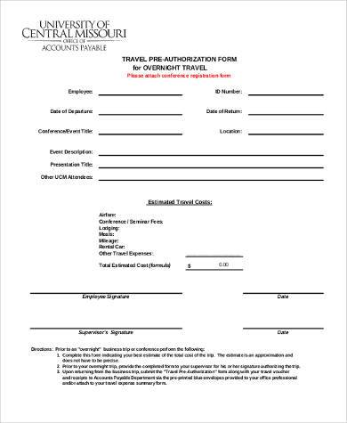 travel pre authorization form1