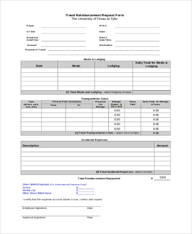 travel reimbursement request form