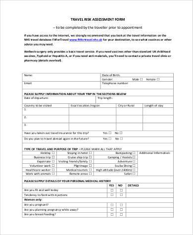 travel risk assessment form example1
