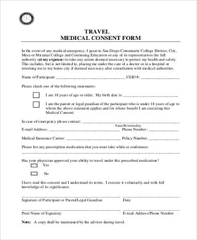 travel and medical consent form