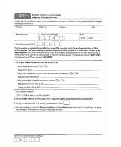 tribal health care exemption form