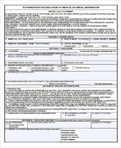 tricare authorization for discloser of medical