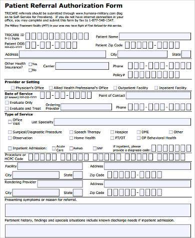 Sample Tricare Authorization Forms   Free Documents In Word Pdf