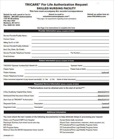 Sample Tricare Authorization Forms - 8+ Free Documents in Word, PDF