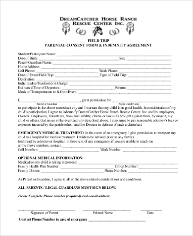 trip parent consent form printable