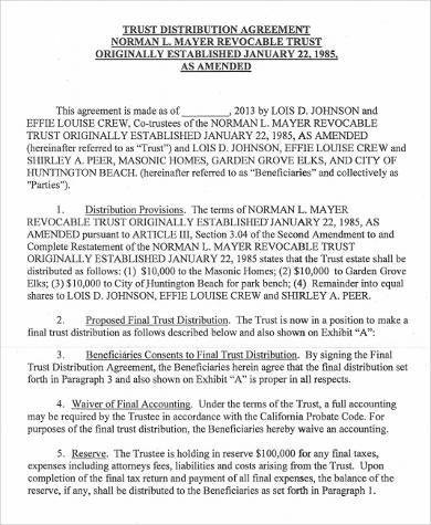 trust distribution agreement form