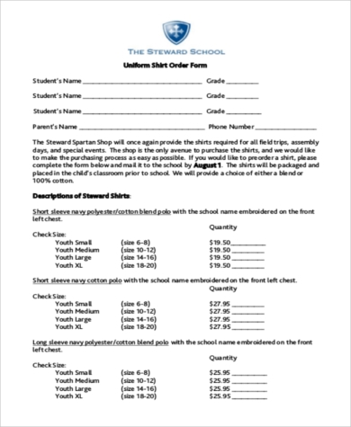 uniform shirt order form1