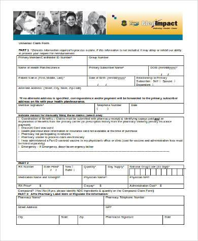 Charmant Universal Claim Form In Word