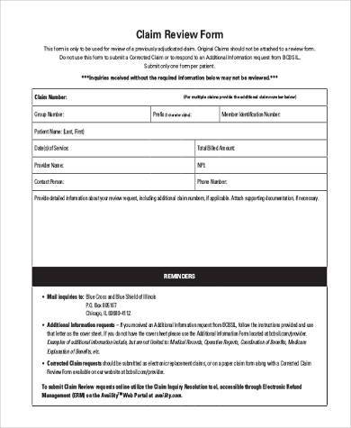universal claim review form