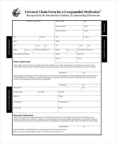 Sample Universal Claim Forms   Free Documents In Word Pdf
