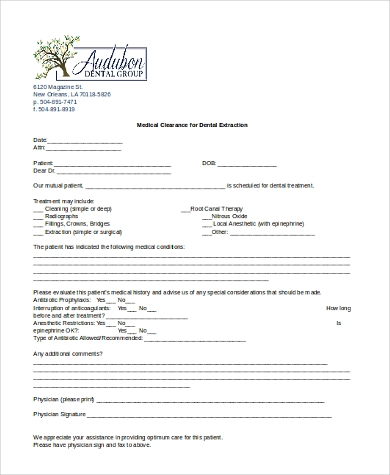 medical clearance form for dental Medical Clearance Form Sample - 7  Free Documents in Word, PDF