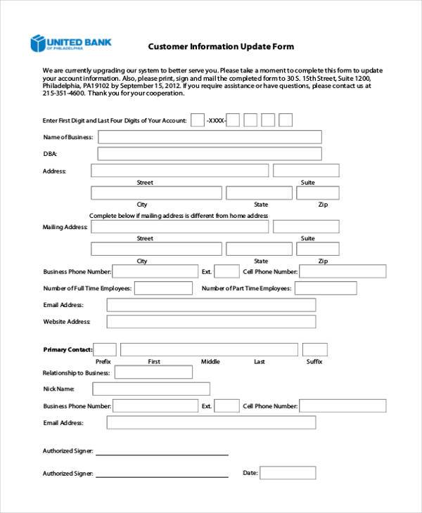 Update Customer Information Form  Customer Form Sample