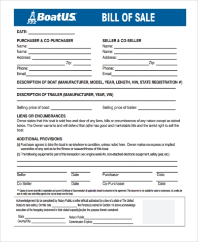 Used Boat Bill Of Sale Form In PDF