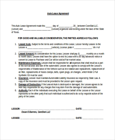 Auto Lease Agreement Form. Used Car Lease Purchase