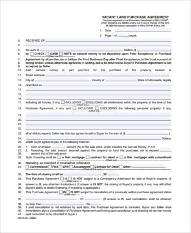 Land Purchase Agreement Samples   Free Documents In Pdf