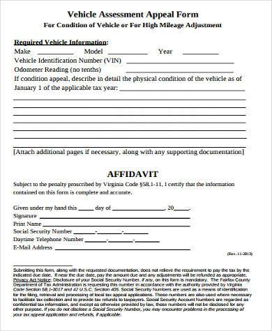 vehicle assessment appeal form