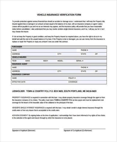 vehicle insurance verification form