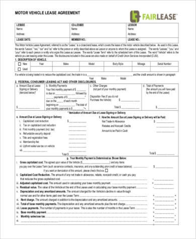 vehicle lease purchase agreement form1