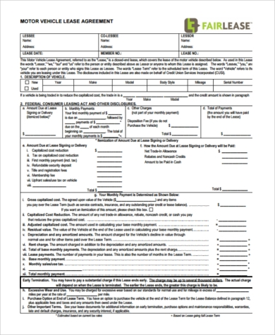 Vehicle Lease/Purchase Agreement Form  Lease To Buy Agreement Template