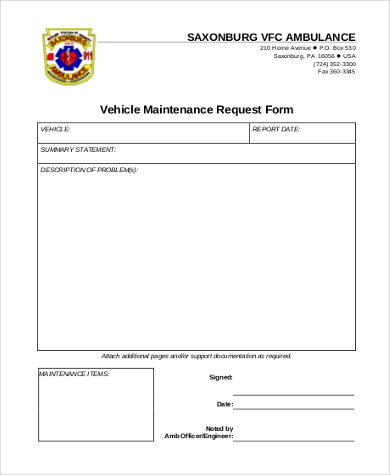 vehicle maintenance request form