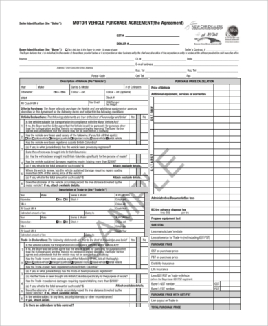 vehicle purchase agreement 8 free documents in word pdf