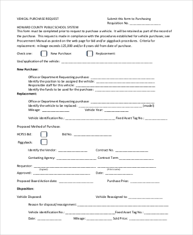 vehicle purchase request form