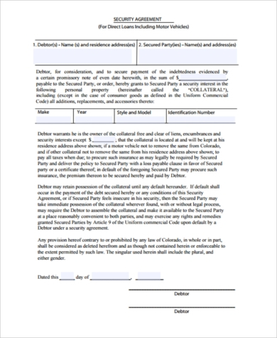 vehicle security agreement form example