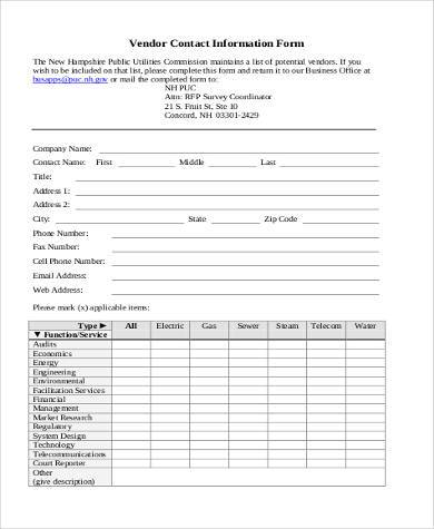 Sample Vendor Information Forms   Free Documents In Pdf