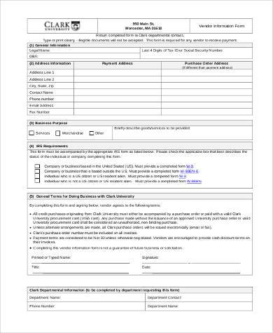 vendor information form example