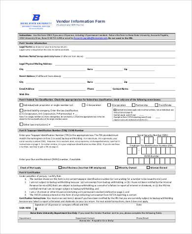 vendor information form in pdf