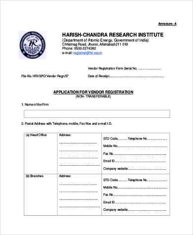 Vendor Application Form Samples   Free Documents In Word Pdf