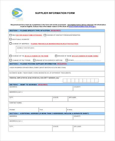 vendor supplier information form