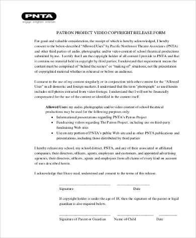video copyright release form