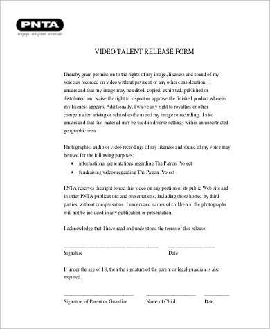 Video Release Form Samples   Free Documents In Word Pdf