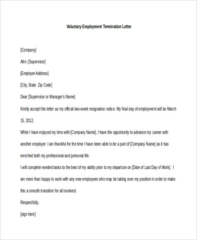 voluntary employment termination letter