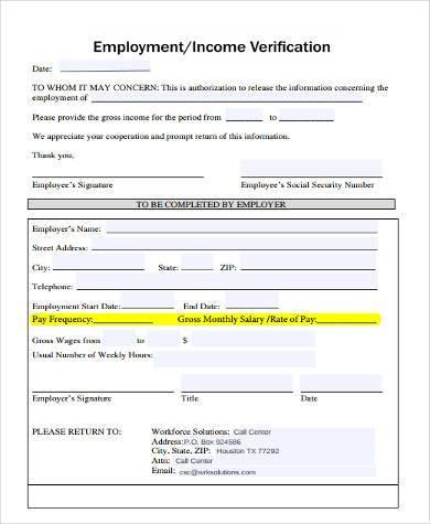 wage income verification form