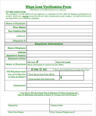 wage loss verification form