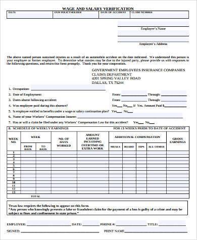 wage salary verification form