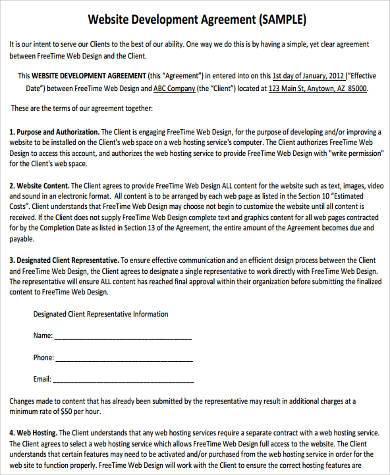 website development agreement form