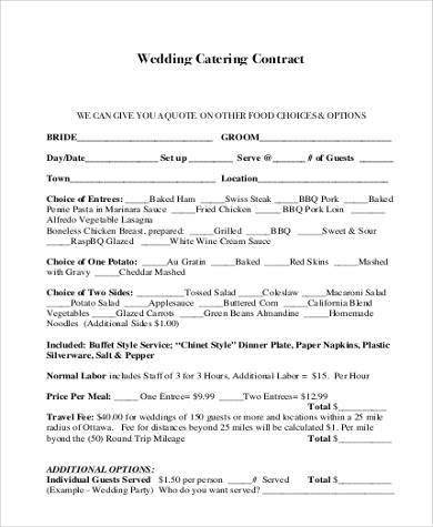 Wedding Catering Contract Sample  Catering Contract Templates