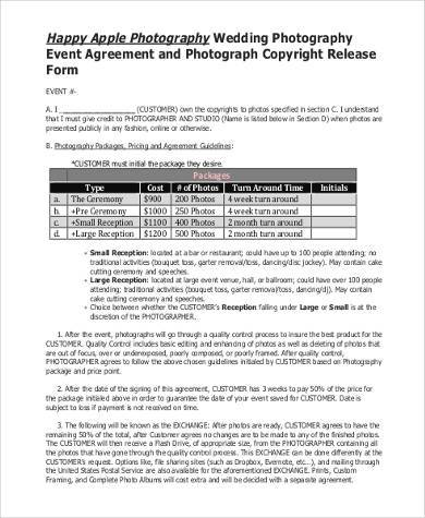 wedding photo copyright release form